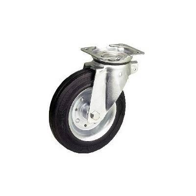 Roulette pivotante caoutchouc noir 125mm charge 100kg