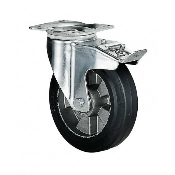 Roulette pivotante à frein diamètre 160 mm caoutchouc noir fixation à platine